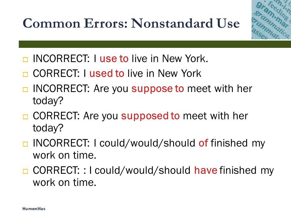 Common Errors: Nonstandard Use