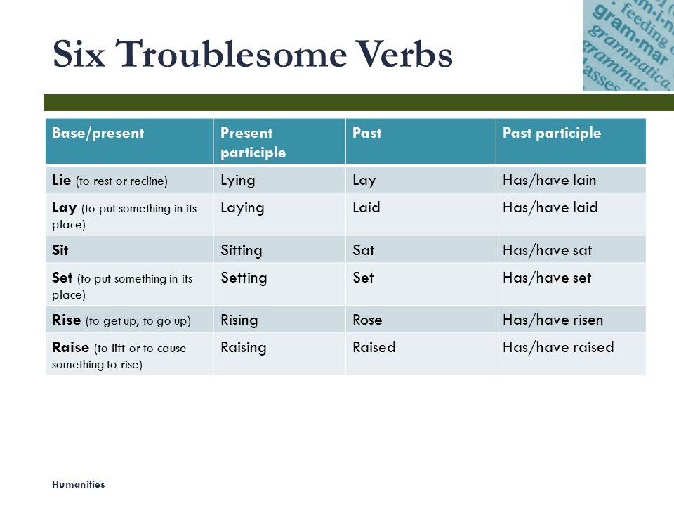 Six Troublesome Verbs Base/present Present participle Past