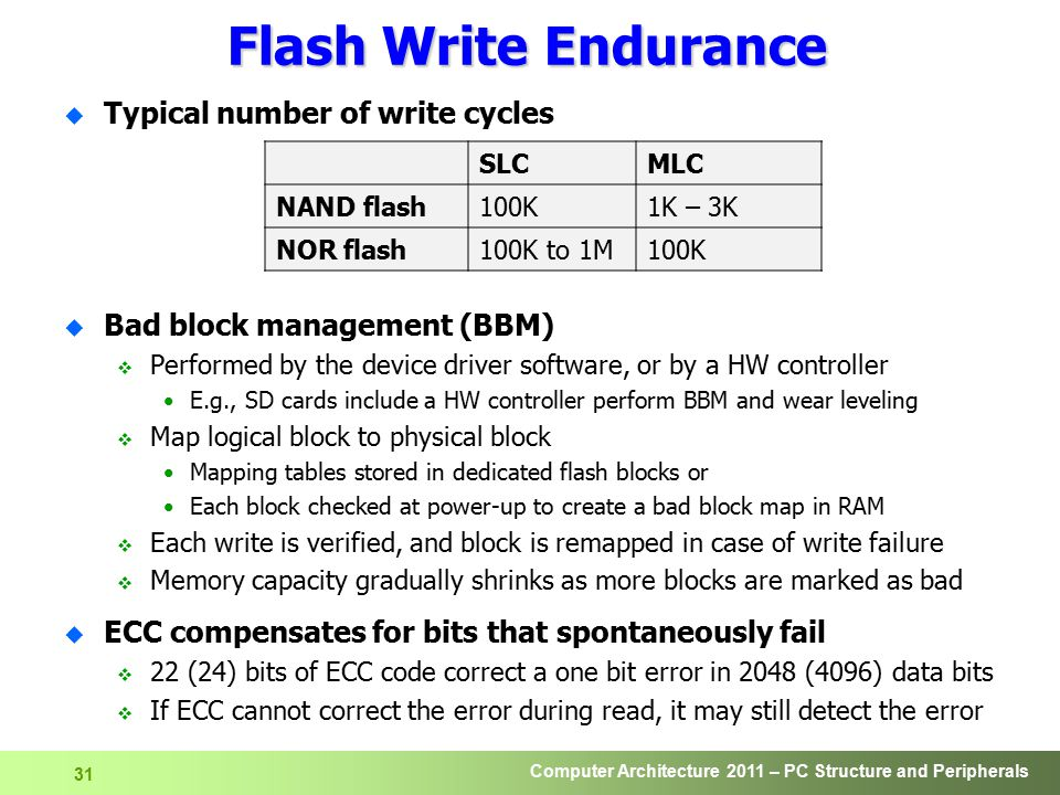 Flash Write Endurance Typical number of write cycles