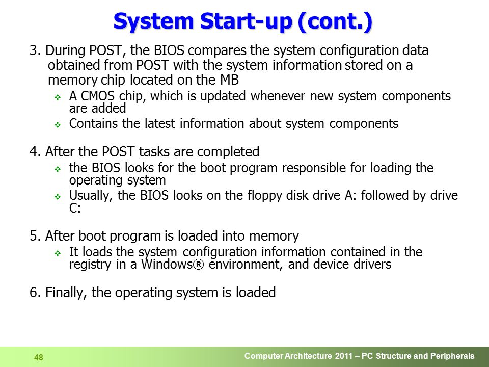 System Start-up (cont.)