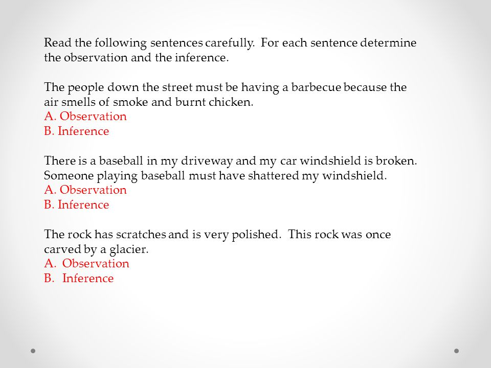Read the following sentences carefully