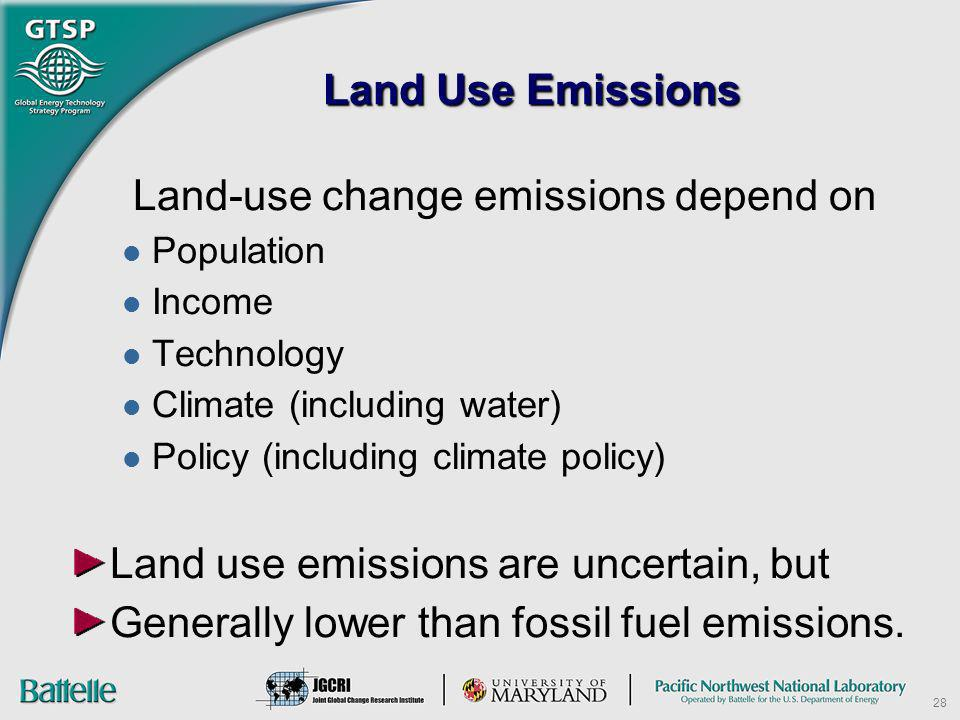 Land-use change emissions depend on