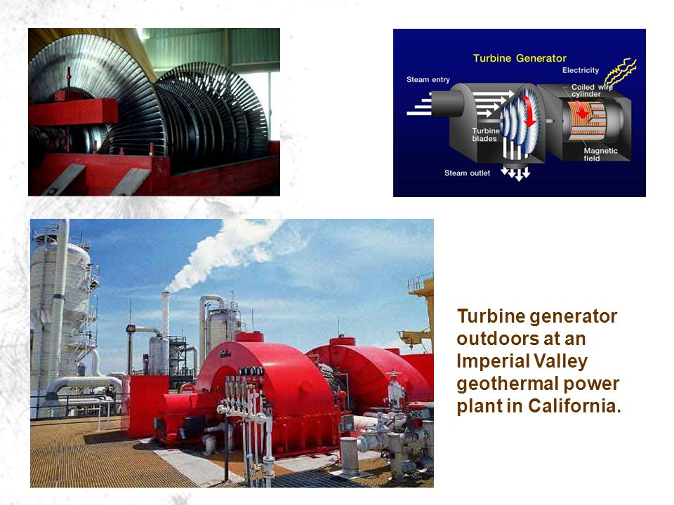 Turbine generator outdoors at an