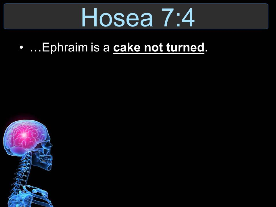 Hosea 7:4 …Ephraim is a cake not turned.