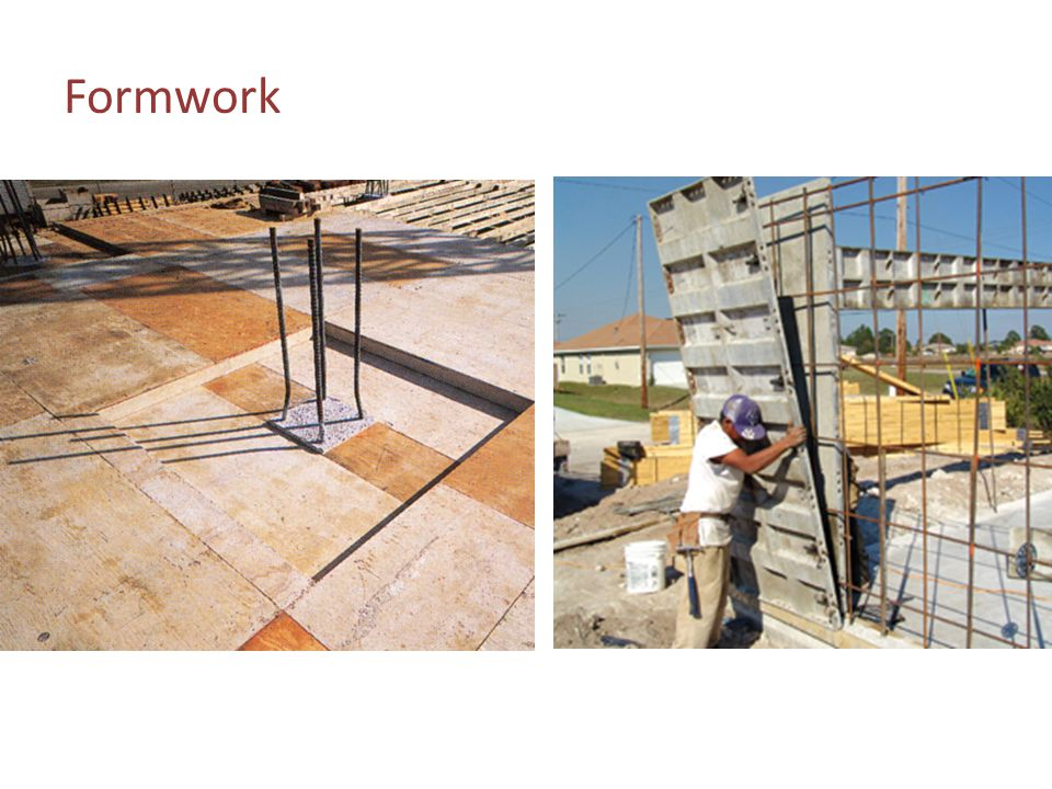 Formwork The photo on the left shows plywood forming used for a drop panel around the top of a concrete column.