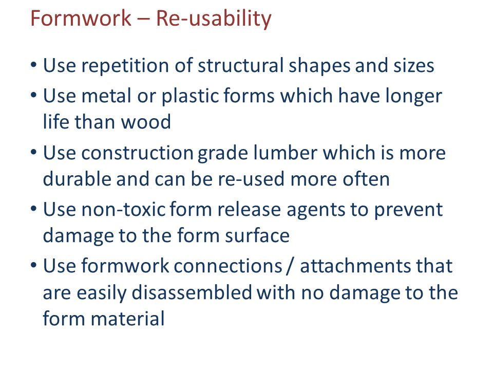 Formwork – Re-usability