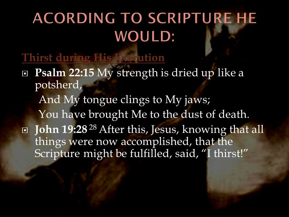 ACORDING TO SCRIPTURE HE WOULD: