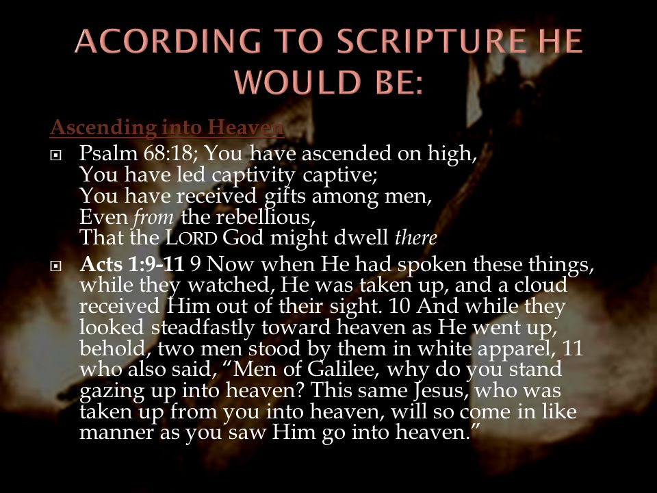 ACORDING TO SCRIPTURE HE WOULD BE: