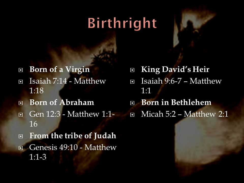 Birthright Born of a Virgin Isaiah 7:14 - Matthew 1:18 Born of Abraham