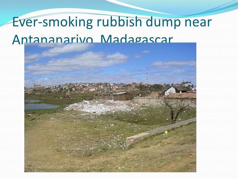 Ever-smoking rubbish dump near Antananarivo, Madagascar