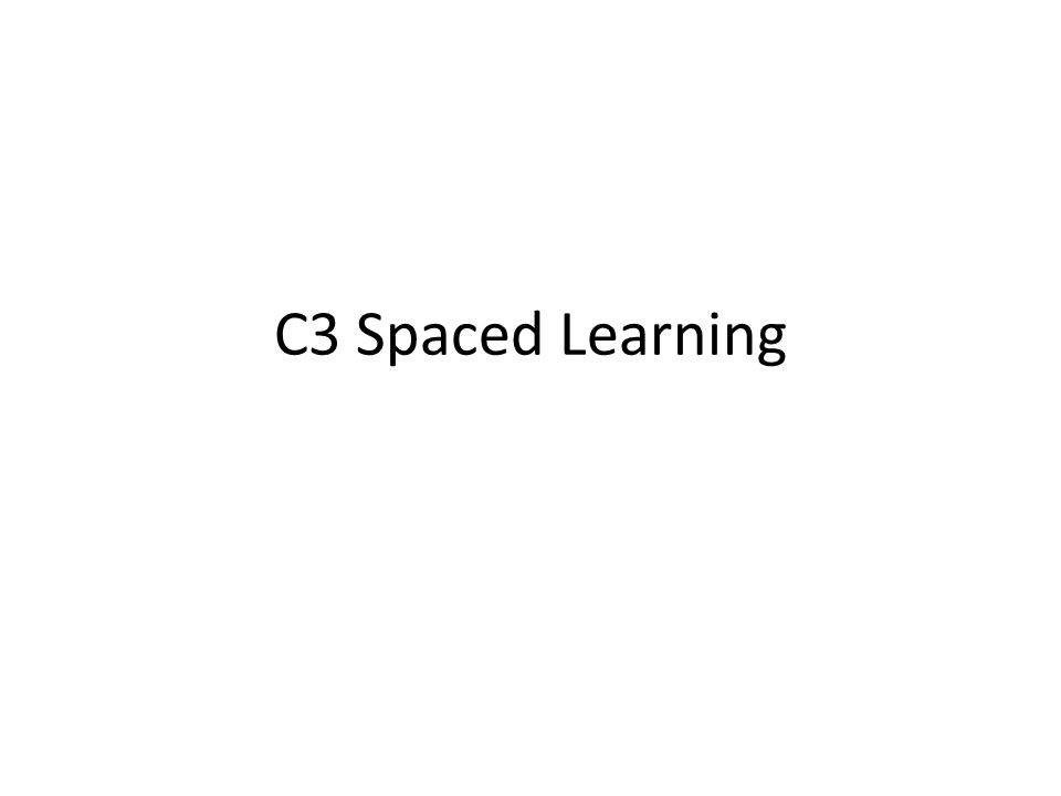 C3 Spaced Learning