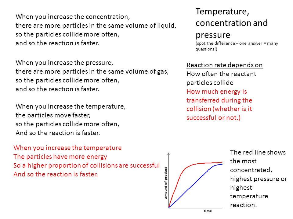 Temperature, concentration and pressure