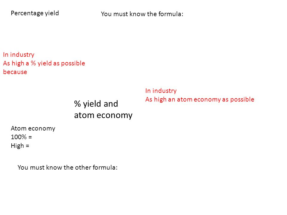 % yield and atom economy