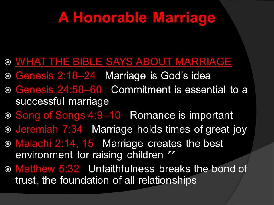 A Honorable Marriage WHAT THE BIBLE SAYS ABOUT MARRIAGE