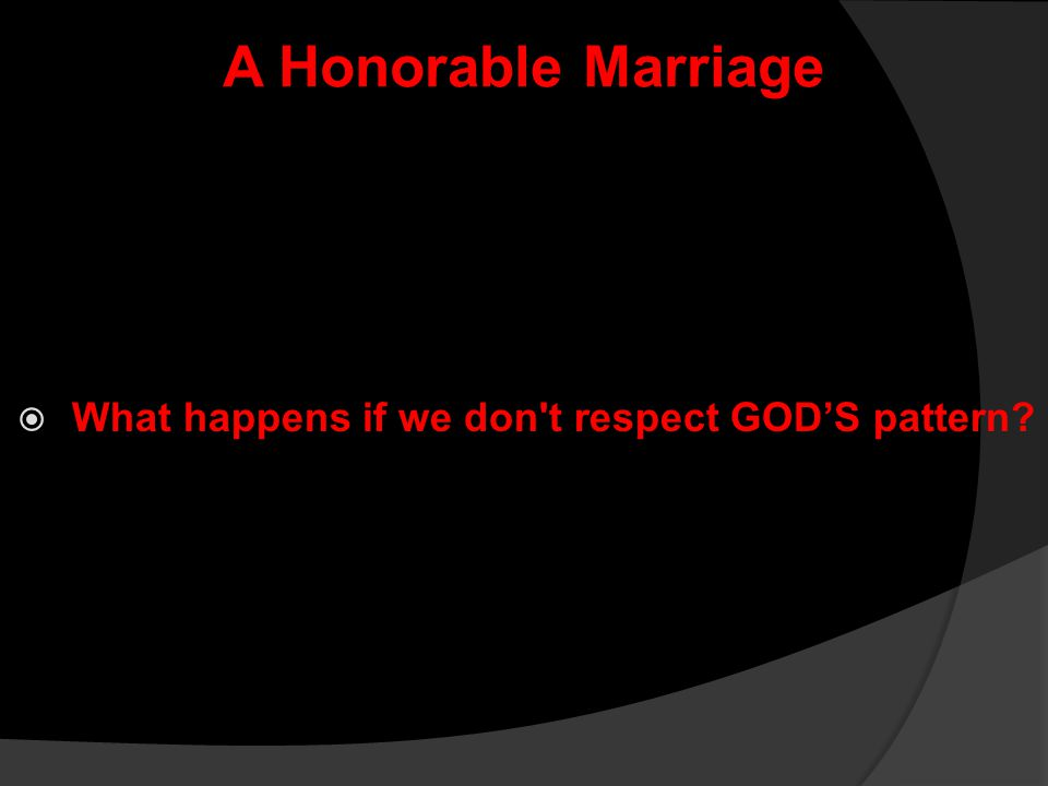 What happens if we don t respect GOD'S pattern