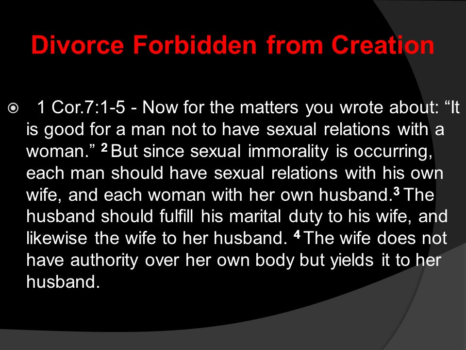 Divorce Forbidden from Creation