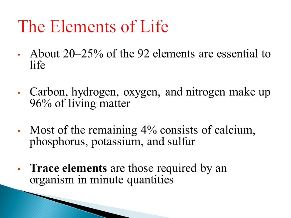 The Elements of Life About 20–25% of the 92 elements are essential to life. Carbon, hydrogen, oxygen, and nitrogen make up 96% of living matter.