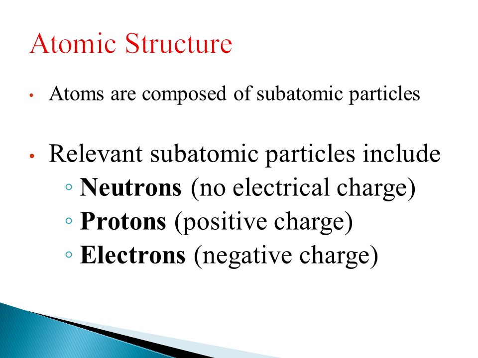 Atomic Structure Relevant subatomic particles include