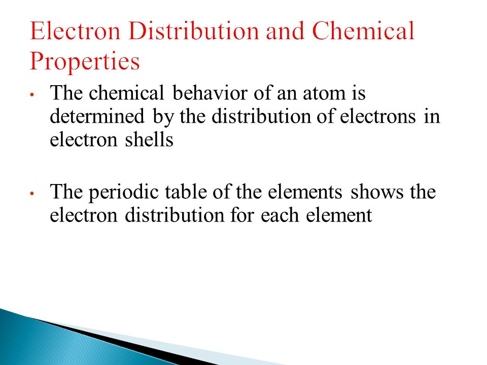 Electron Distribution and Chemical Properties