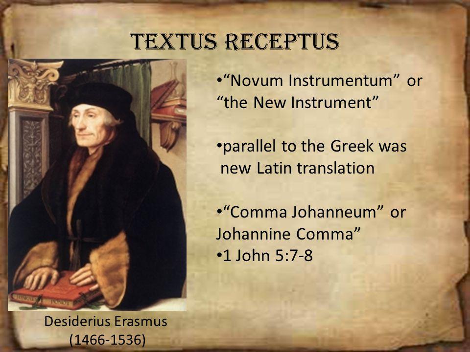 Textus receptus Novum Instrumentum or the New Instrument