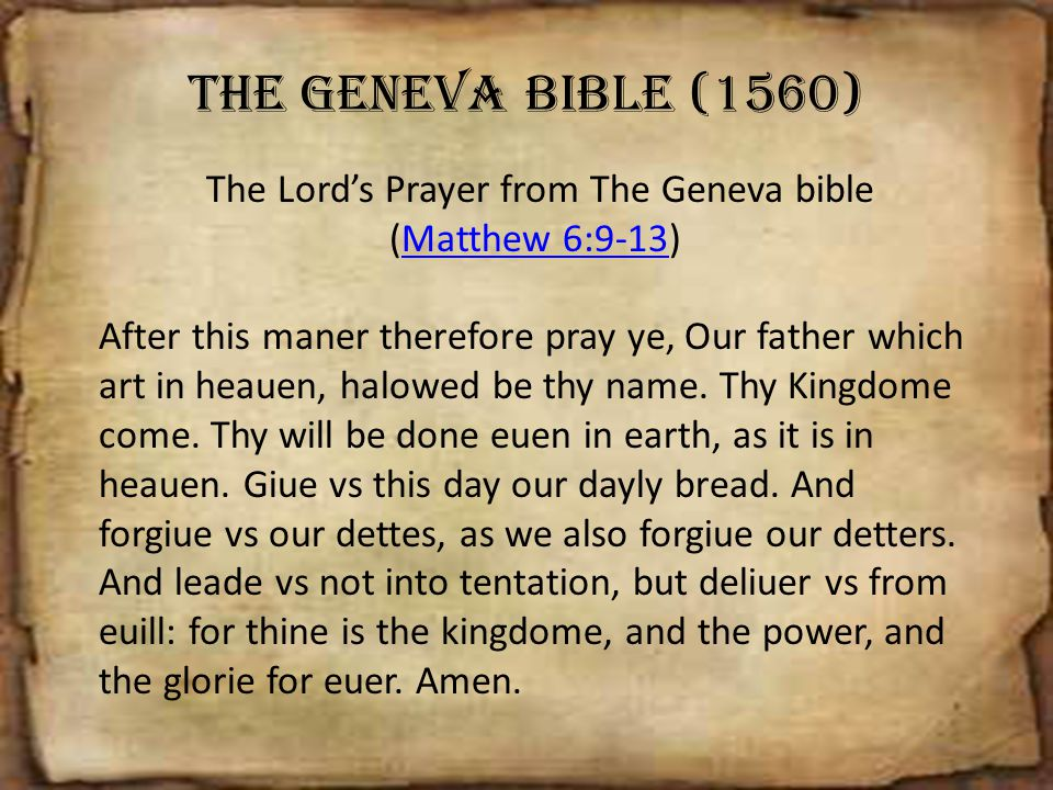 The Lord's Prayer from The Geneva bible