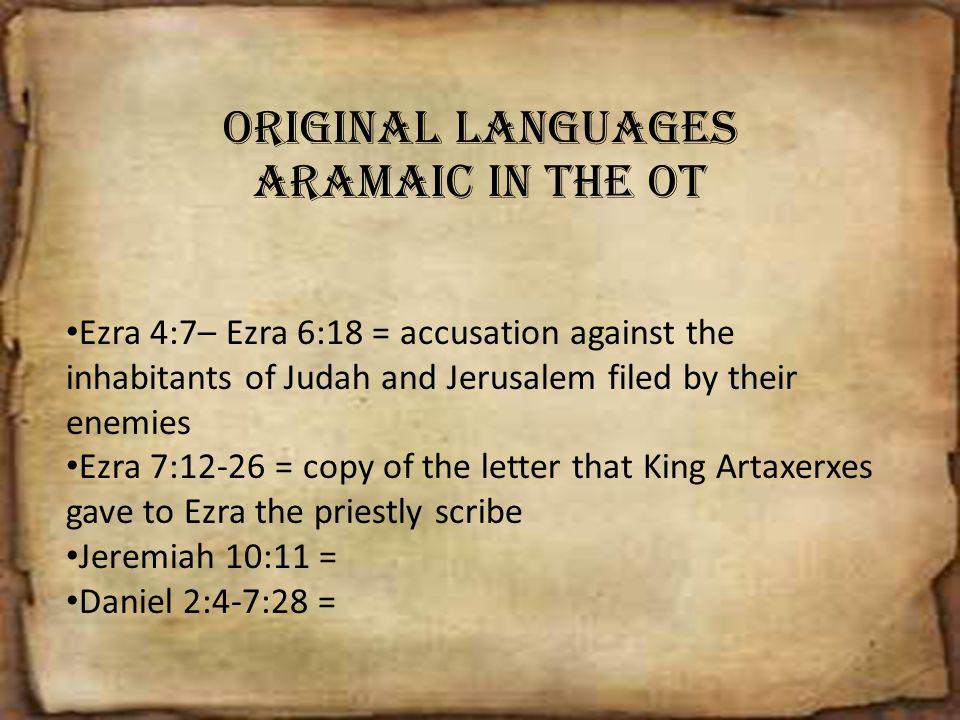 Original Languages Aramaic in the OT