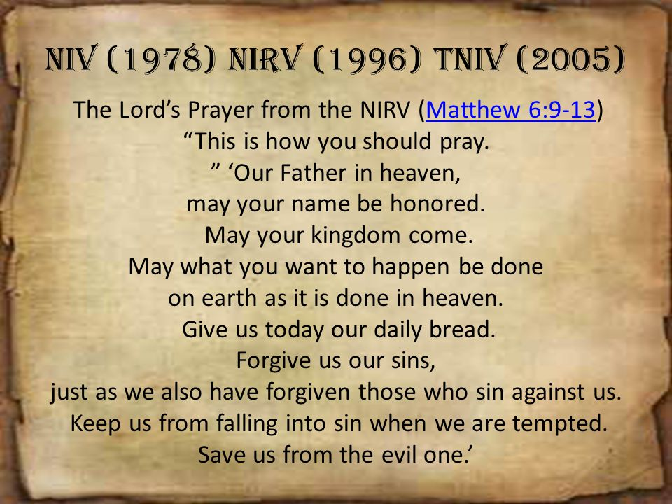NIV (1978) NIRV (1996) TNIV (2005)