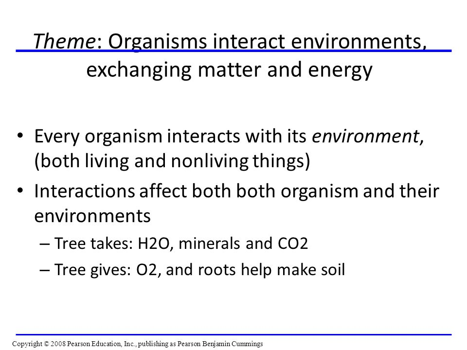 Theme: Organisms interact environments, exchanging matter and energy