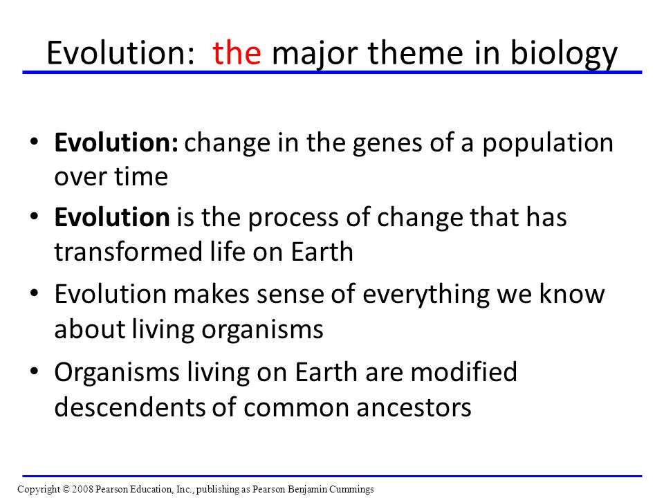 Evolution: the major theme in biology