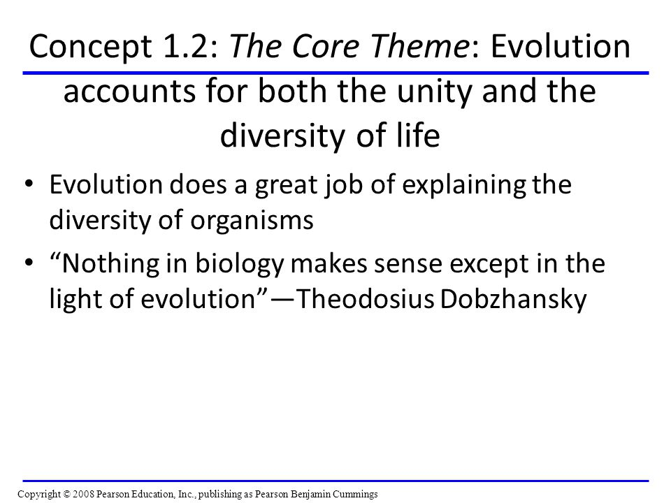 Concept 1.2: The Core Theme: Evolution accounts for both the unity and the diversity of life