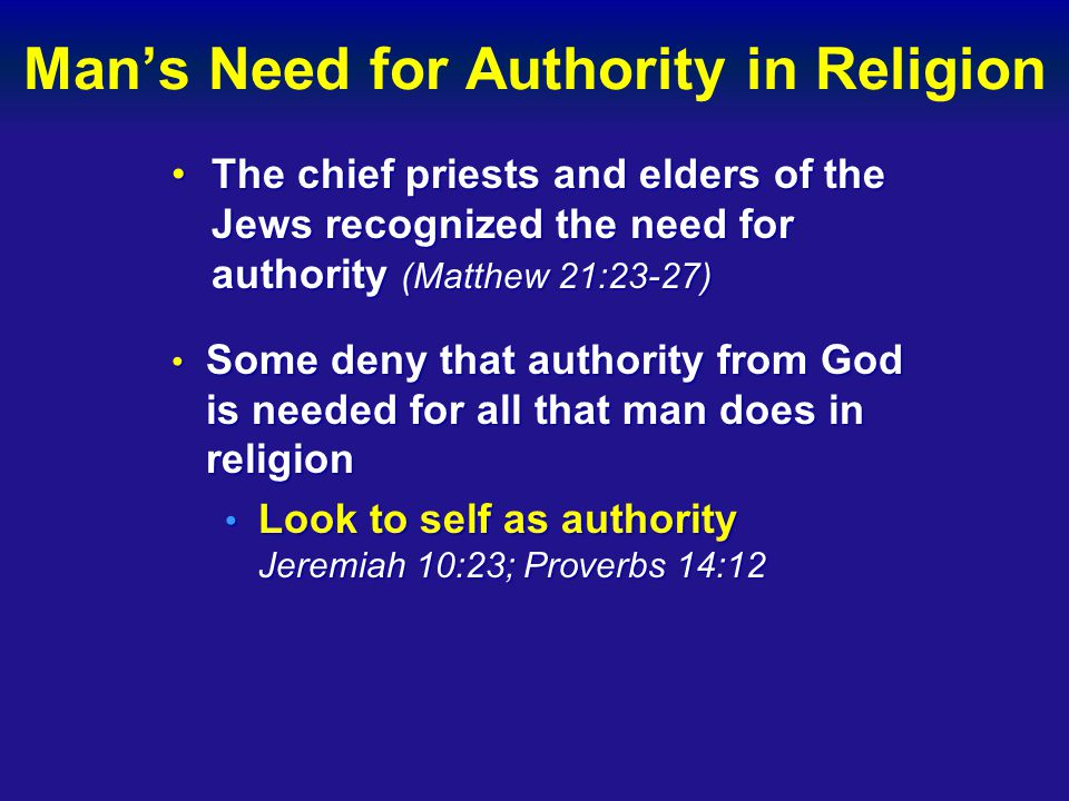 Man's Need for Authority in Religion