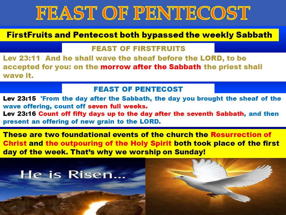 FirstFruits and Pentecost both bypassed the weekly Sabbath
