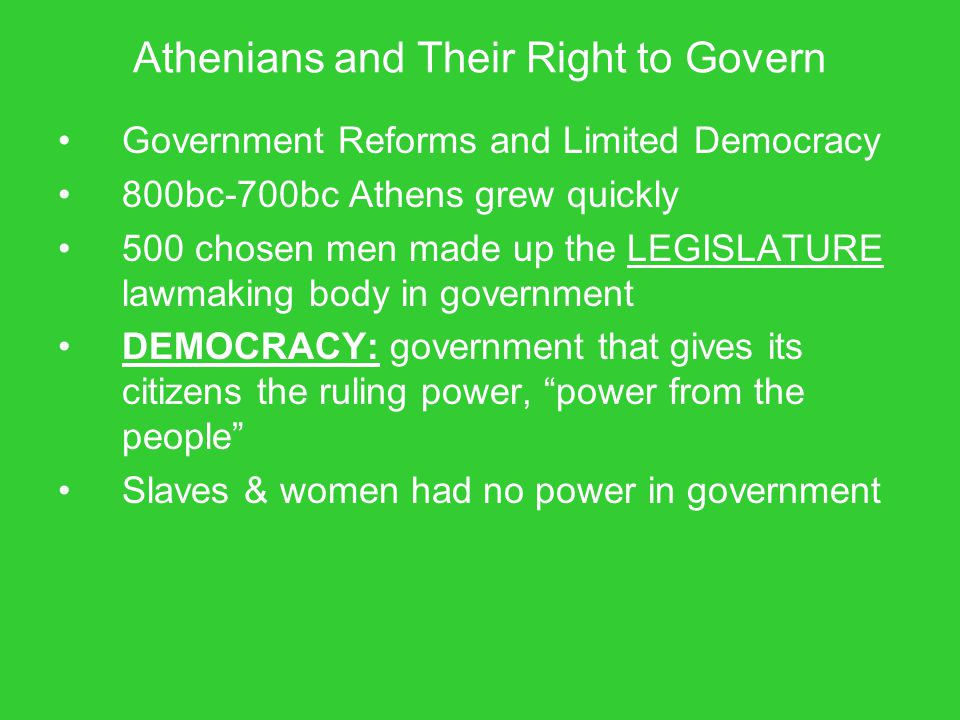 Athenians and Their Right to Govern