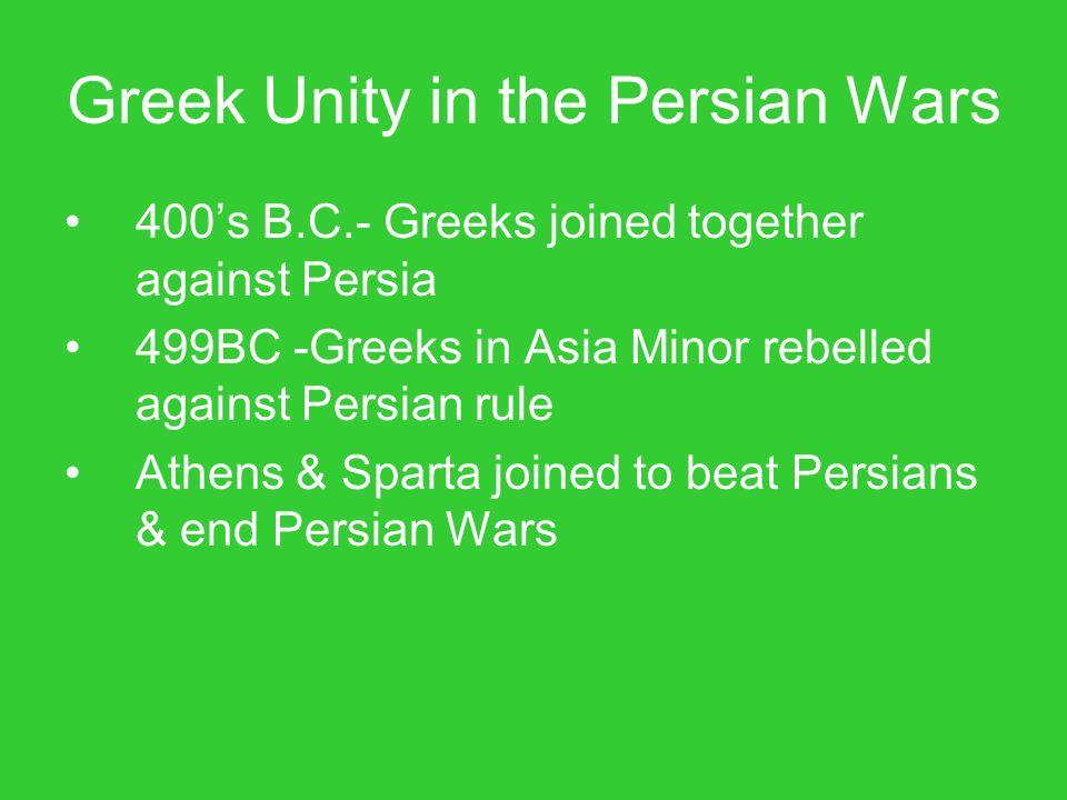 Greek Unity in the Persian Wars