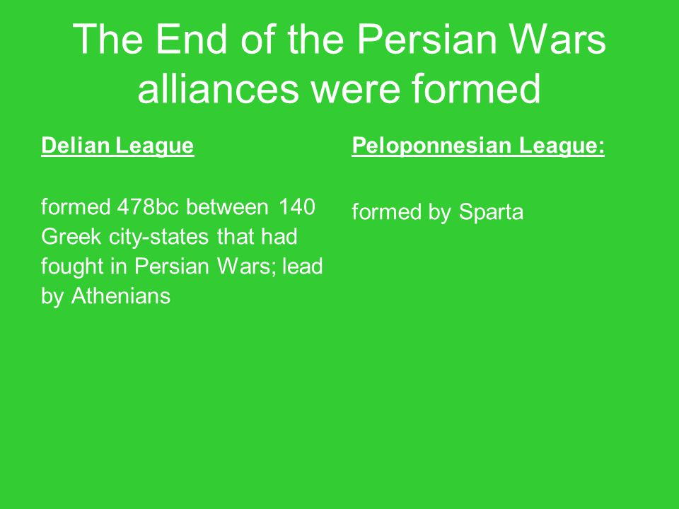 The End of the Persian Wars alliances were formed