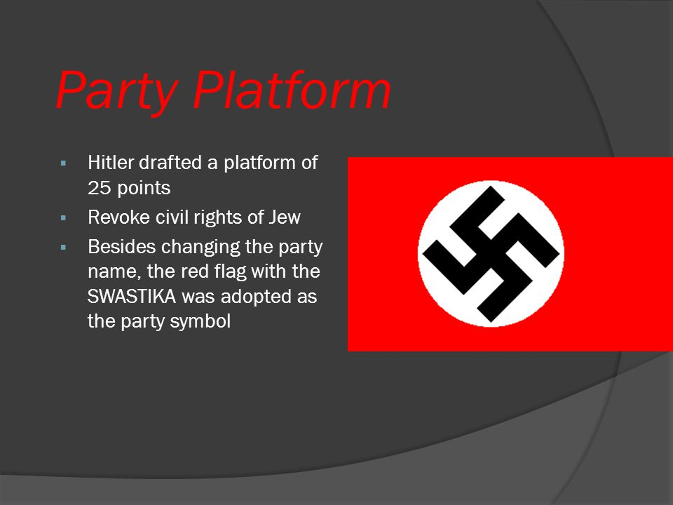 Party Platform Hitler drafted a platform of 25 points
