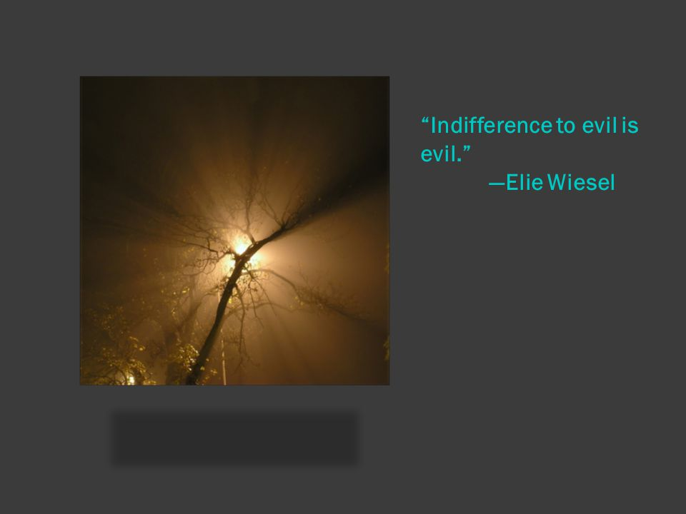 Indifference to evil is evil. —Elie Wiesel