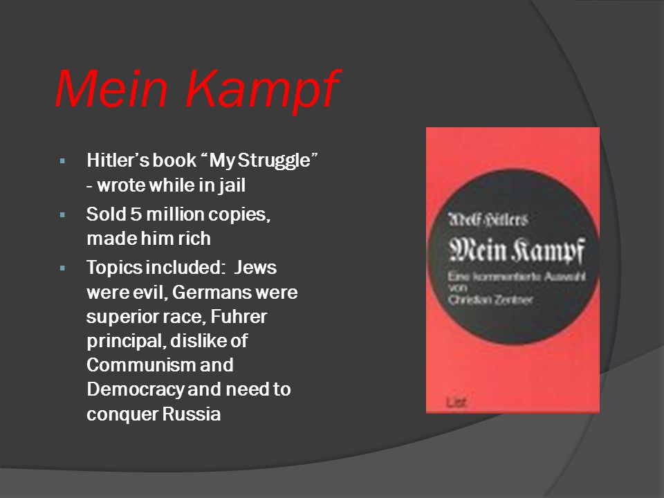 Mein Kampf Hitler's book My Struggle - wrote while in jail