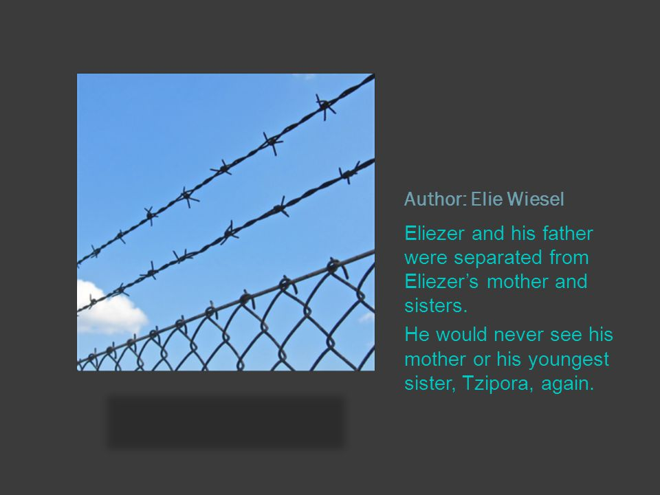 Author: Elie Wiesel Eliezer and his father were separated from Eliezer's mother and sisters.