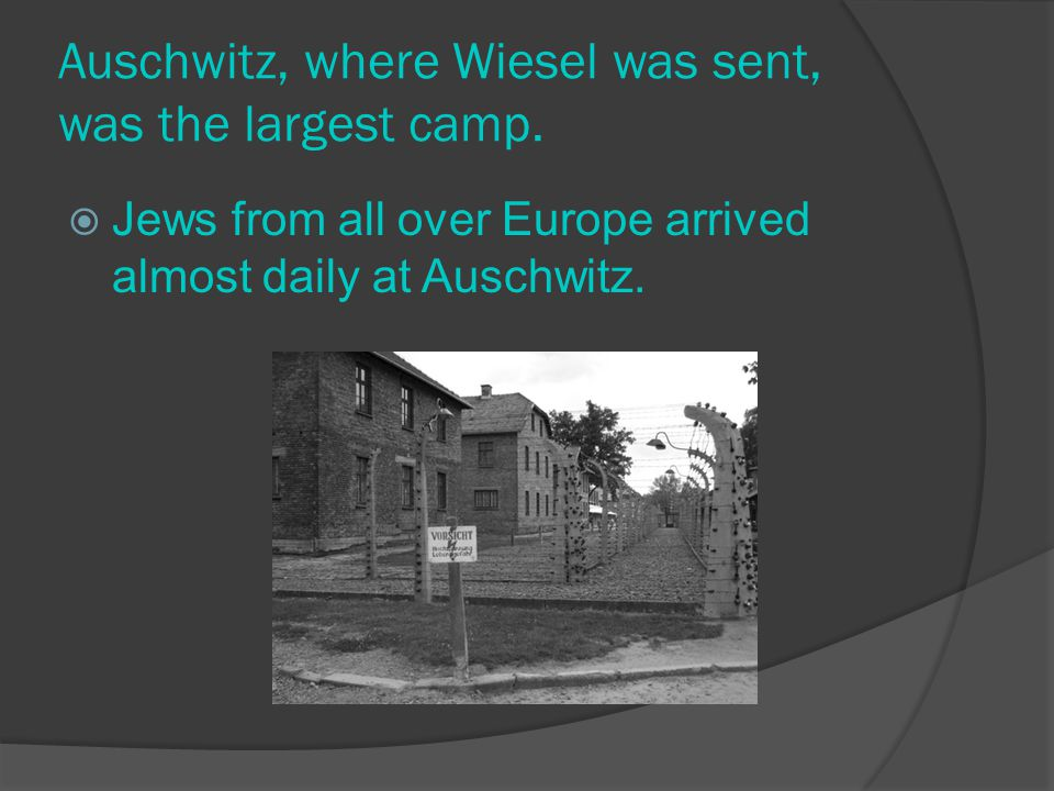 Auschwitz, where Wiesel was sent, was the largest camp.