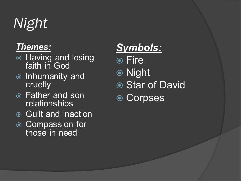 Night Symbols: Fire Night Star of David Corpses Themes: