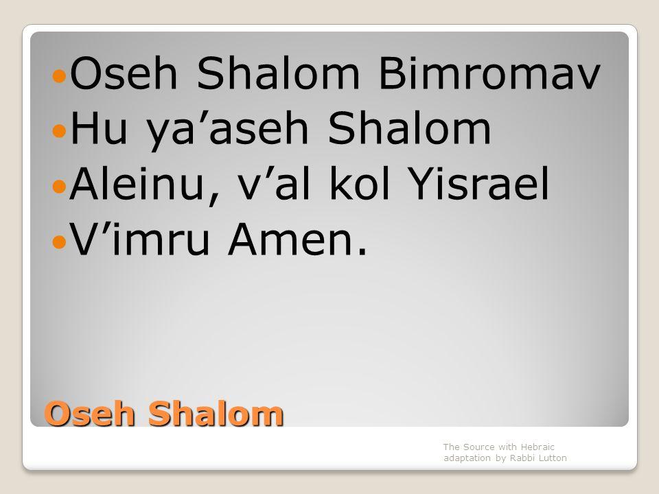 Aleinu, v'al kol Yisrael V'imru Amen.