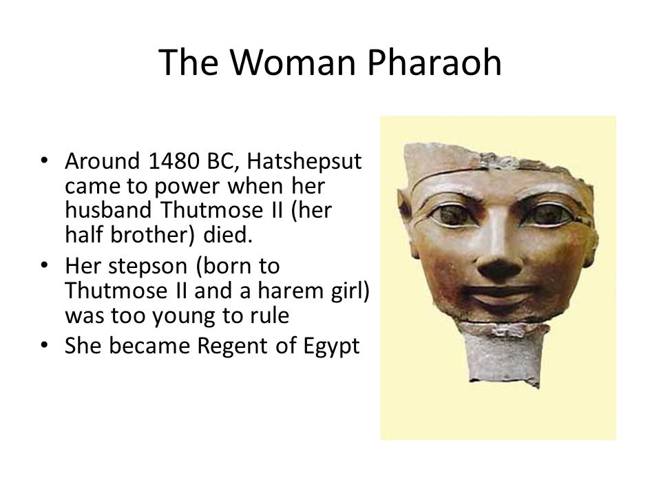 The Woman Pharaoh Around 1480 BC, Hatshepsut came to power when her husband Thutmose II (her half brother) died.