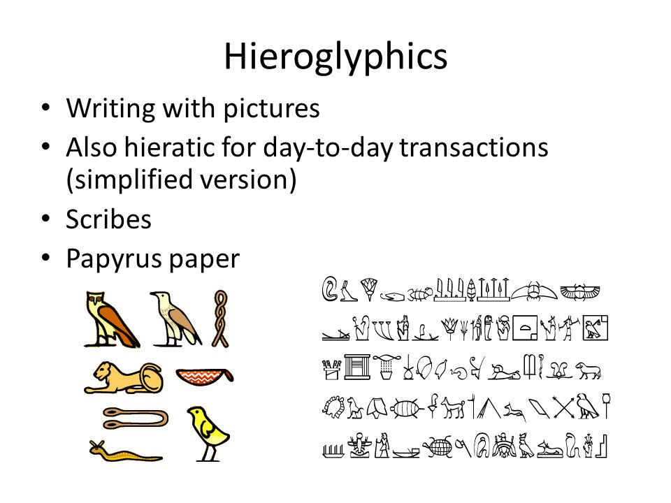 Hieroglyphics Writing with pictures
