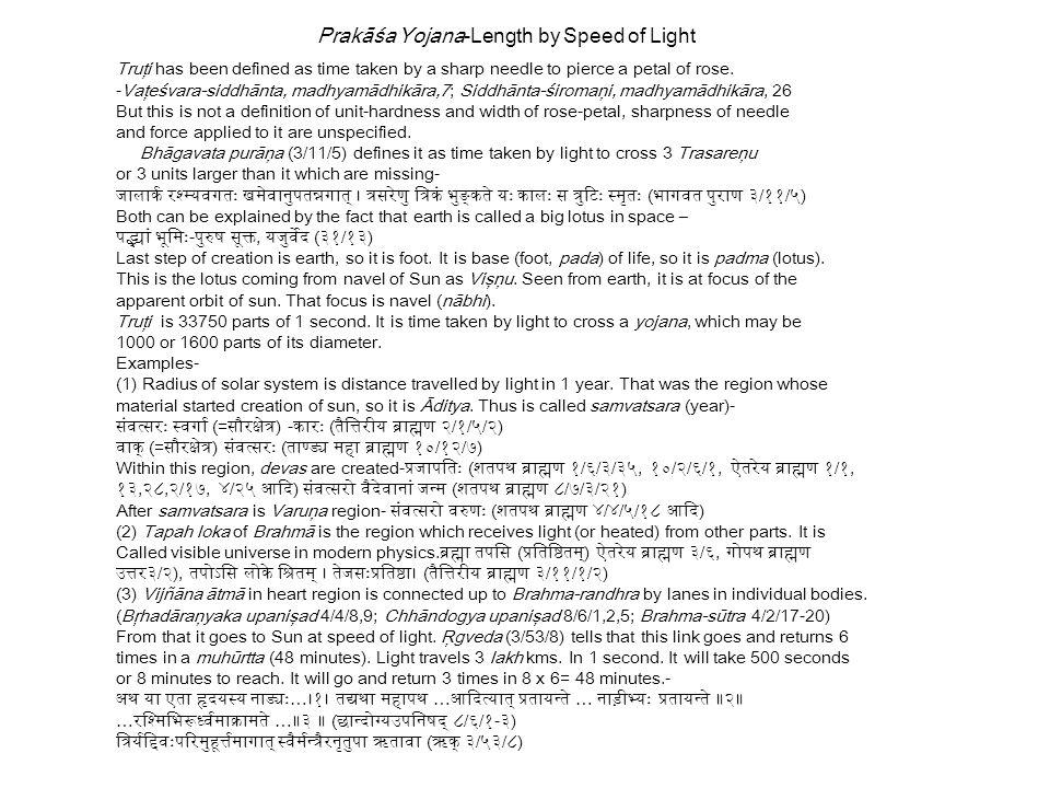 Prakāśa Yojana-Length by Speed of Light
