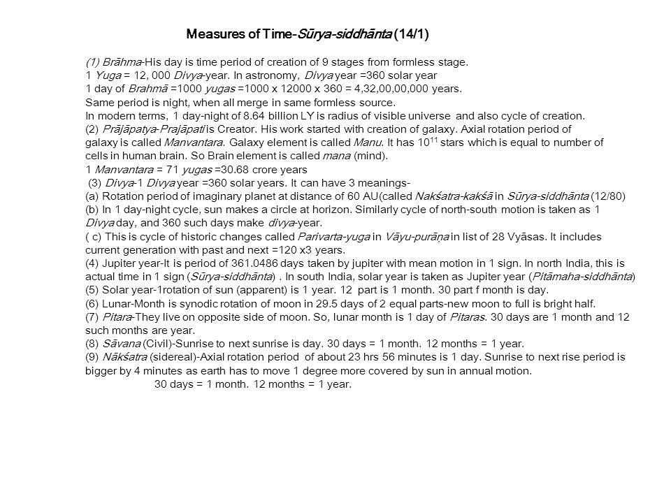Measures of Time-Sūrya-siddhānta (14/1)