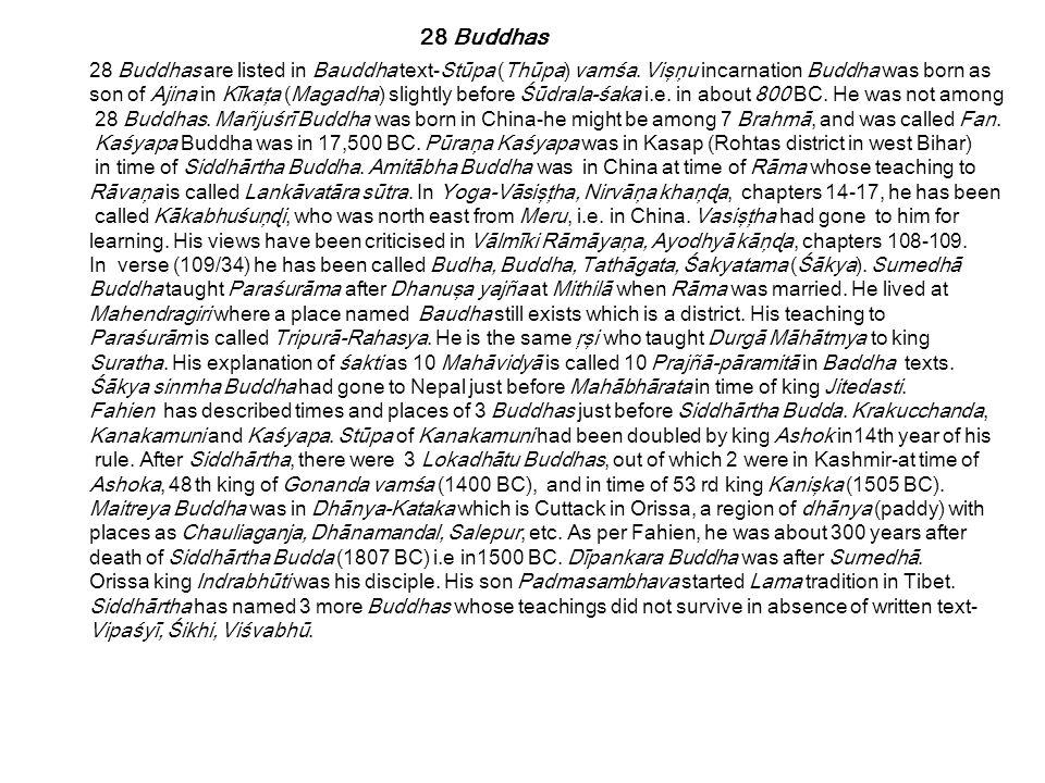 28 Buddhas are listed in Bauddha text-Stūpa (Thūpa) vamśa