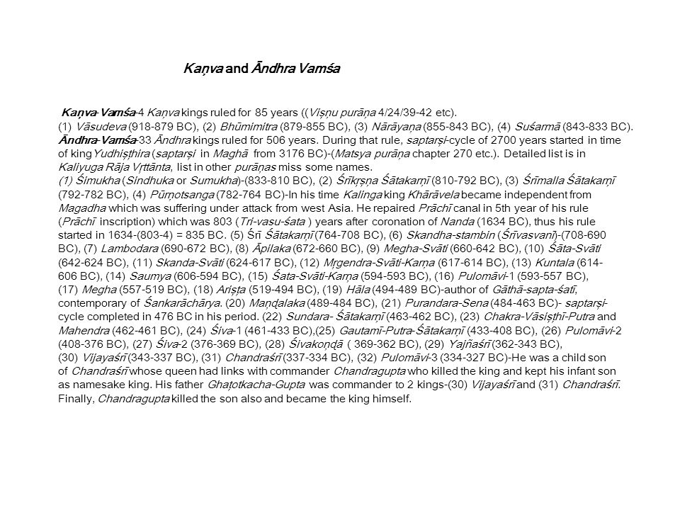 Kaņva-Vamśa-4 Kaņva kings ruled for 85 years ((Vişņu purāņa 4/24/39-42 etc).