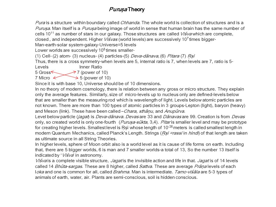 Puruşa Theory Pura is a structure within boundary called Chhanda. The whole world is collection of structures and is a.