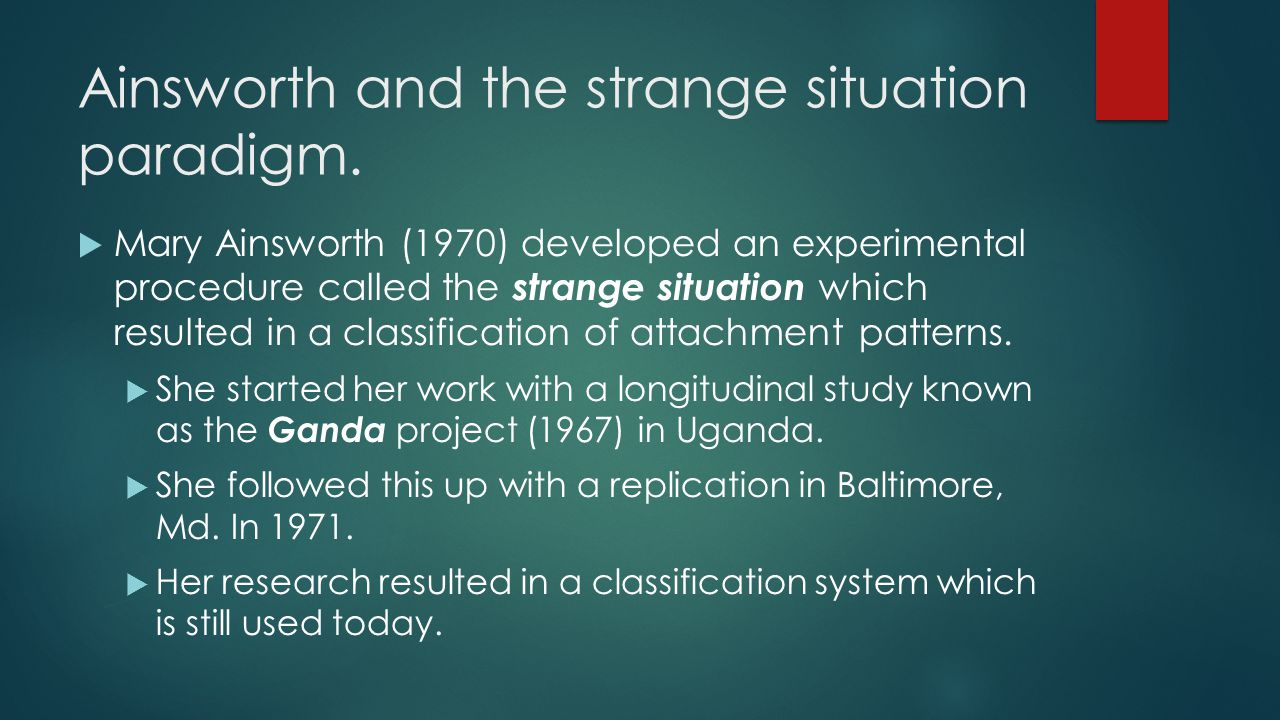 Ainsworth and the strange situation paradigm.